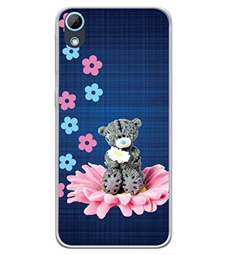 Bluethroat Grey Teddy Bear On A Floral Seat Designer Printed Soft Silicone Mobile Case Back Cover for HTC Desire 626 and HTC Desire 628