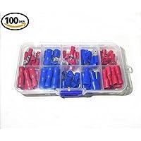 100Pcs conectores de crimpado, conectores eléctricos, conector terminal de anillo de alambre de crimpado 50 rojo y azul 50