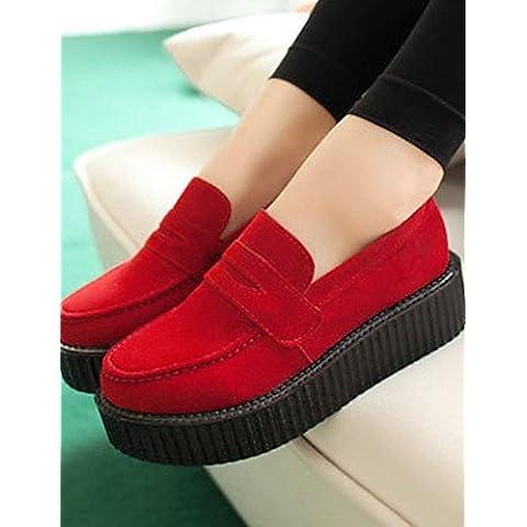 ZY piattaforma scarpe da donna/Ballerina/Novelty oxfords esterni/casual nero/rosso, red-us8 / eu39 / uk6 / cn39, (Increspato Tela)