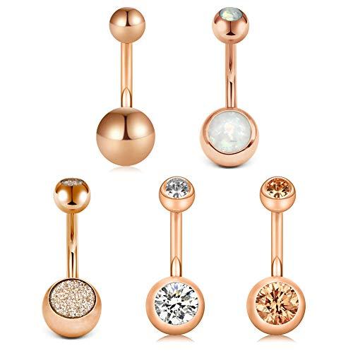 b Bauchnabelpiercing Chirurgenstahl CZ Inlaid Opal Bauchnabel Ringe Piercing Köper Schmuck Piercing für Damen Mädchen 5 Stück- Rose Gold ()