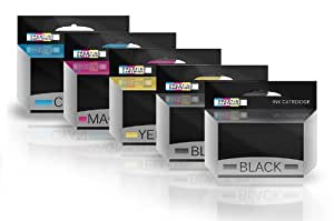 Prestige Cartridge T1631-4 (T1636) Lot de 5 Cartouches d'encre compatible pour Epson Workforce Imprimante - Noir/Cyan/Magenta/Jaune