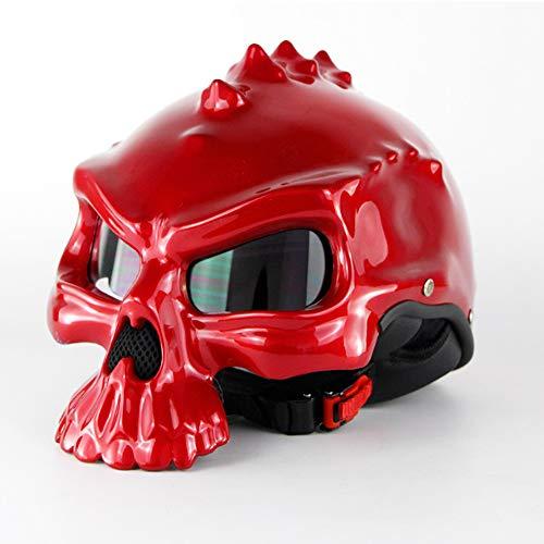 QLG&S Retro-Gesicht Motorrad Kollision Halbhelm, Fashion Locomotive Genie Helm Skull Cap Harry Helm kann Bubble Mirror,XXL (Xxl-skull-cap)