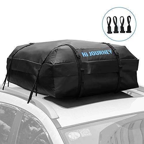 Tchipie Faltbare Dachbox für Auto, wasserdichte Dachgepäckträger-Tasche, Große Dachtasche, Dachgepäcktasche mit 4 Türhaken, 425L, Schwarz, Geeignet für die Meisten Autotypen