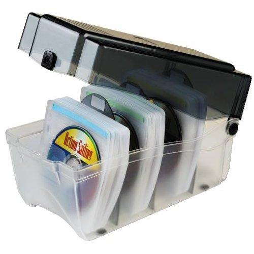 Hama CD Sleeve Box für 150 CD/DVDs/Blu-Rays (inkl. Schutz-Hüllen, Indexkarten, Kunsstoffteilern) transparent-graphit Graphit-dvd