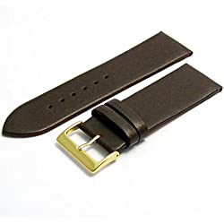 Fine Calf Leather Watch Strap Band 28mm Dark Brown with Gilt (Gold Colour) Buckle. Free Spring Bars (Watch Pins)