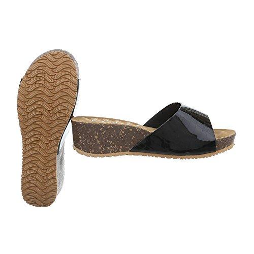 Ital-Design Chaussures Femme Sandales Compensé Mules noir A-93