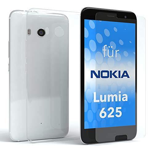 EAZY CASE Silikonhülle und Panzerglas im Set für Nokia Lumia 625 I Bildschirmschutzglas, Panzerglas nur 0,3 mm 9H Härte, Schutzhülle Ultra dünn, TPU/Silikon Hülle, Backcover, Transparent/Kristallklar