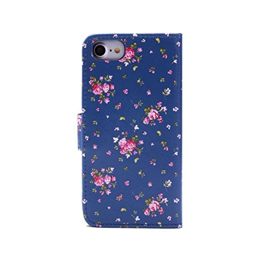 32nd Portafoglio Floreale Custodia PU Pelle per Apple iPhone 7 & Apple iPhone 8, Flip Case con Disegni di Fiori e Chiusura Magnetica - Fiore di Ciliegio Floral Portafoglio - Vintage Rosa Blu