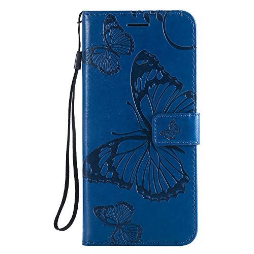 Lomogo Sony Xperia XZ3 Hülle Leder, Schutzhülle Brieftasche mit Kartenfach Klappbar Magnetverschluss Stoßfest Kratzfest Handyhülle Case für Sony Xperia XZ3 - LOKTU24005 Blau Blau Holster