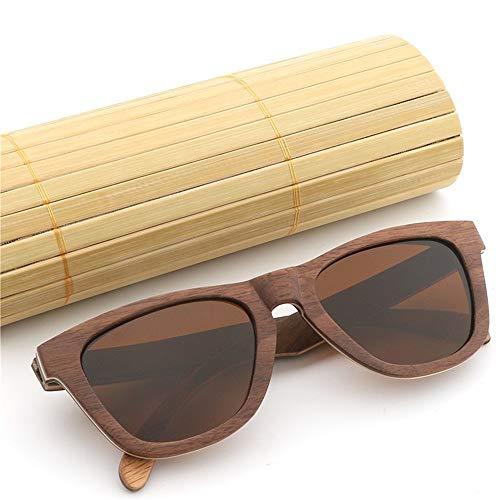 JIA-Sunglass Schattierung Handgefertigte Bunte Bambus Miroor Sonnenbrille Skateboard Holz Bambus Beine Sonnenbrille Vintage Retro Sonnenbrille for MES Womens Unisex Uv 400 (Color : Brown)
