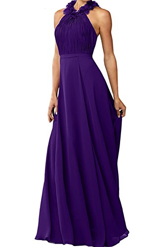 Ivydressing Damen Rundkragen Chiffon A-Linie Abendkleider Lang Mutterkleider Ballkleider Violett