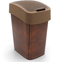 CURVER Poubelle 25L Leather Design Flip Bin Poubelle avec Couvercle Cuisine Budget