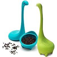 RUNFON 2Stück Tee-Filter–Baby-Nessie, Tee-Ei aus Silikon mit langem Griff und Sieb für lose Teeblätter, Kräuter usw.