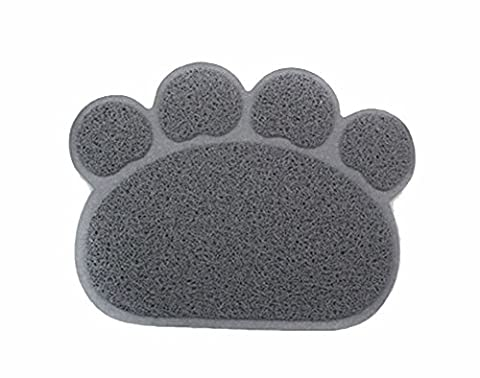 Besthc PVC Pet Dog Cat Puppy Kitten Dish Bowl Food Water Placemat Mat Paw Shape (Grey)