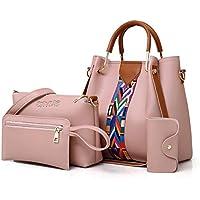 Envias Leatherette Latest Handbags For Women's Ladies Combo Of 4 (BabyPink_PrintStrip_EVS-118)