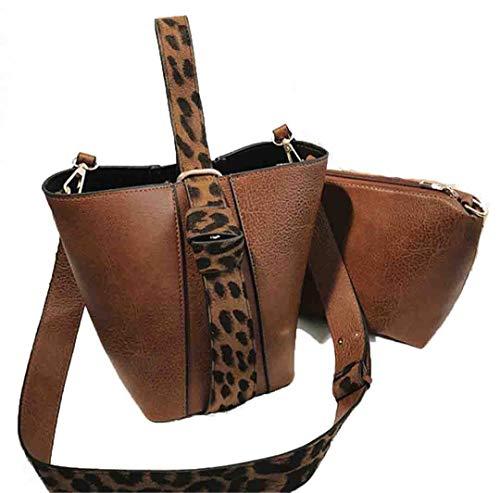 2 Teile/Satz Eimer Taschen Für Frauen Neue Weibliche Pu-Leder Kleine Crossbody Taschen Leopardenmuster Handtaschen Brown