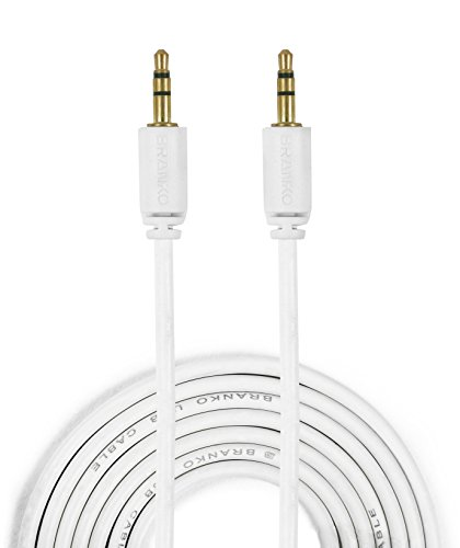 Branko 3.5mm Male to Male Audio Cable (6ft / 1.5m) [ Made In India ] AUX Cable for Headphones, iPods, iPhones, iPads, Home / Car stereos and More (White)  available at amazon for Rs.140