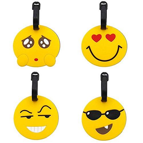 Étiquettes pour Bagages 4 Pack PVC Valise Emoji Étiquette de bagage Voyage