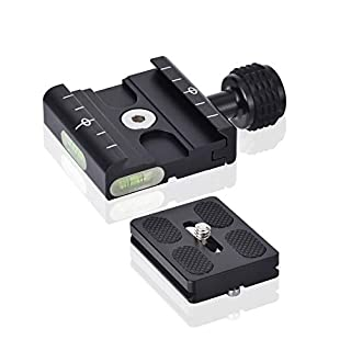 UTEBIT 50mm Quick Release Plate Tripod QR Plate Metal Clamp With 1/4 3/8 Screw Adapter Built-in Bubble Level  compatible for Arca Swiss Tripod Ball Head