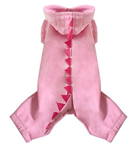 smalllee_lucky_store Medium Hund Herbst Dinosaurier Overall mit Kapuze für weiblich/männlich, Pink, (Weibliche Holloween Kostüm)