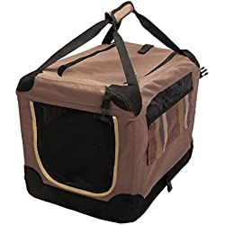 Favorita 60 x 37 x 33 cm Transportín para mascotas, perros y gatos, apto para volar en avión, plegable con malla, incluye bolsa de transporte, Marrón