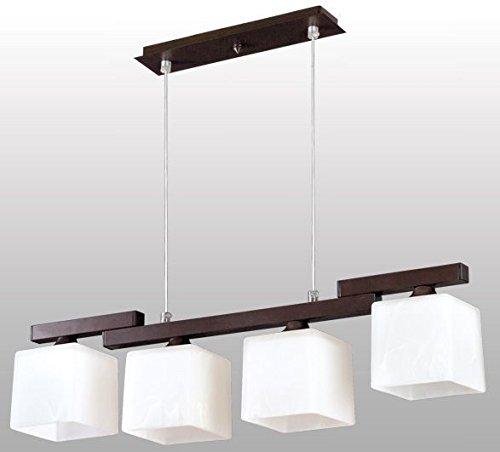 Leuchtstarke Pendelleuchte (4-flammig, Bauhaus, in Braun, Weiß, Rechteckiger Schirm) Küchenlampe Innenleuchte Hängeleuchte Hängelampe Pendellampe