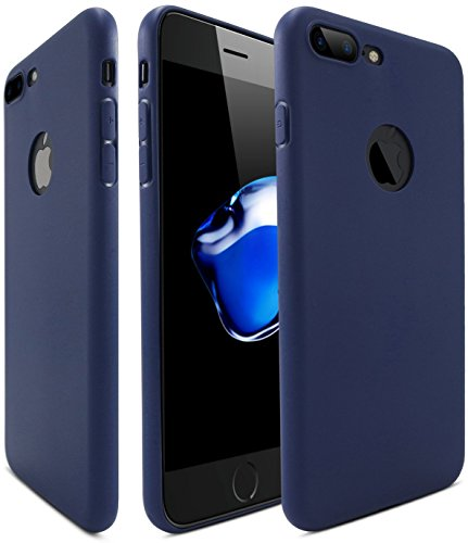 Egotude Soft Silicone TPU Slim Back Cover for Apple iPhone 7/8 Plus  Dark Navy Blue