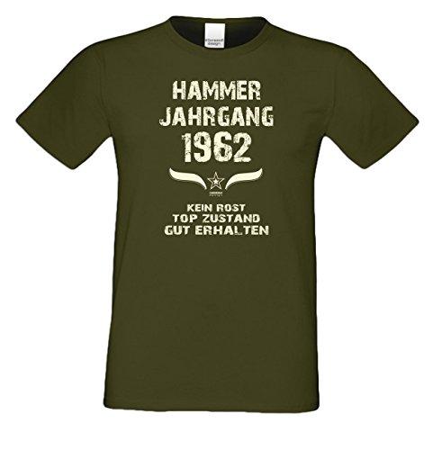 Geschenk zum 55. Geburtstag :-: Geschenkidee Herren Geburtstags-Sprüche-T-Shirt mit Jahreszahl :-: Hammer Jahrgang 1962 :-: Geburtstagsgeschenk Männer :-: Farbe: khaki Khaki
