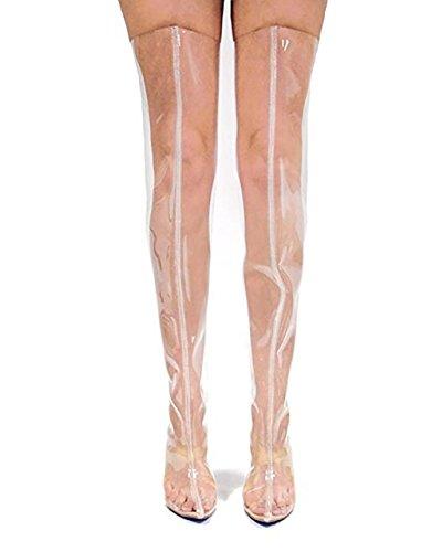 SYYAN Femmes Bottines Perspex Transparent Talon Haut Bloc Soirée Mode Genou Cuisse Chaussures Pointure Pink