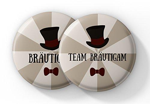12er Set JGA Buttons für Männer mit Zylinder – Anstecker JGA für den Bräutigam und seine Crew zur Bachelor Party - Button Junggesellenabschied