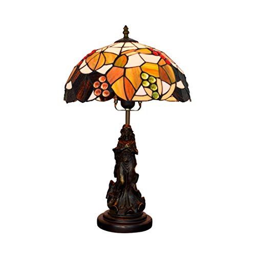 Luz de la noche de uva marrón, lámpara de mesa estilo Tiffany ...