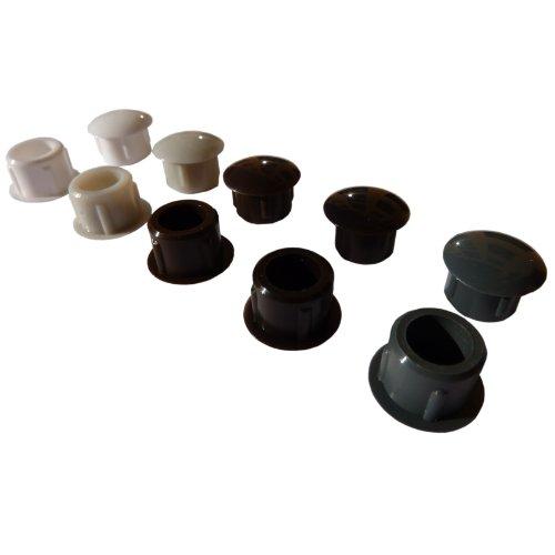 25 Flache Abdeckkappen für 10mm Bohrlöcher für Rollladen Führungsschiene Dunkelbraun