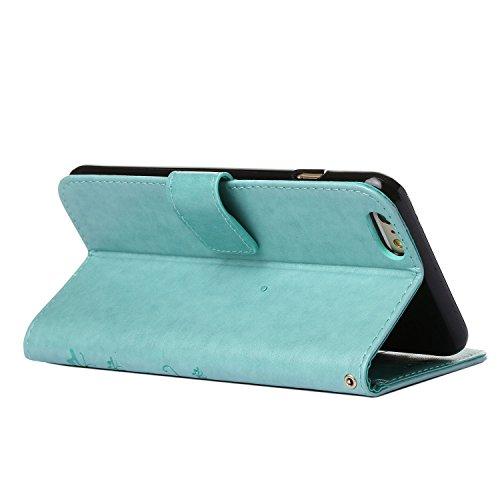 iPhone 6 Plus Hülle, Landee Erweiterte gepresste Blumen Serie PU Leder Wallet Case Hülle für Apple iPhone 6 Plus / iPhone 6S Plus Tasche Schutzhülle Handytasche Flip Case (6Plus-P-0409) 6Plus-P-0401
