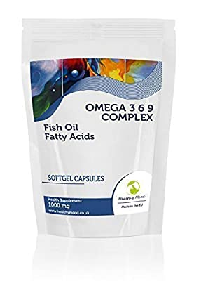 Omega 3 6 9 Complex 1000mg Fish Oil Fatty Acids )mega-3-6-9 Health Food Supplement Vitamins 30 Softgel Capsules Flaxseed Oil Sunflower Seed Oil Vitamin E Nutrition Vitamins HEALTHY MOOD by Healthy Mood