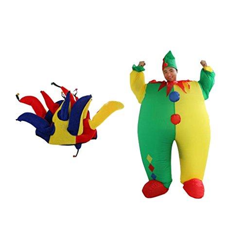 Imagen de magideal traje divertido de payaso inflable adulto hombres ropa de bufón de lujo + sombrero de joker hat niños adulto disfraz carnaval accesorio de payaso