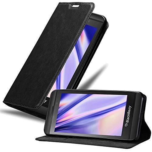 Cadorabo Hülle für BlackBerry Z10 in Nacht SCHWARZ - Handyhülle mit Magnetverschluss, Standfunktion und Kartenfach - Case Cover Schutzhülle Etui Tasche Book Klapp Style