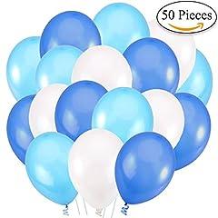 Idea Regalo - 50 Palloncini Blu Bianco e Celeste/Azzurro in Lattice Premium. Palloncini per Elio da 30 cm di 3,2g. Decorazioni e Accessori per Feste di Compleanno e Battesimo