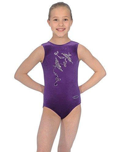 "The Zone Z103SPI Sleeveless gymnastics leotard with jewelled Spirit motif, Smooth Velour Grape, size 32"""