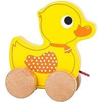 Ente auf Rädern naturbelassenes Holz 24 cm Holzspielzeug