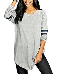 Teamyy Camiseta de Manga Larga Casual béisbol para Mujer Blusa Top Moda