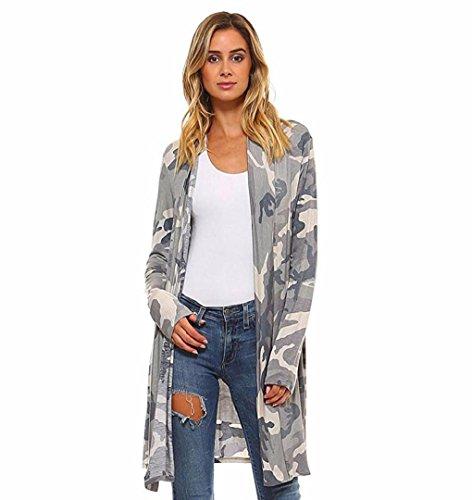 Damen Mantel Beiläufig TarnungZEZKTMode Jacke Herbst Camouflage Jacke Damen Beiläufig Straße Cardigan (XL, Grau)