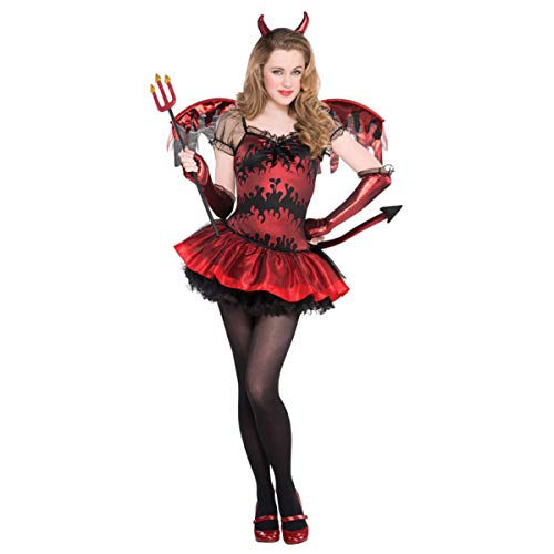Teufelin Kostüm Gr. 158 Teufel Kostüm Kinder Halloween Mädchen Teenie (Teufel Mädchen Halloween)
