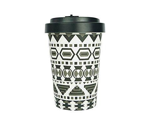 Bambus Becher »Bamboo-to-go Aztek Black« 400 ml 1 Stück -
