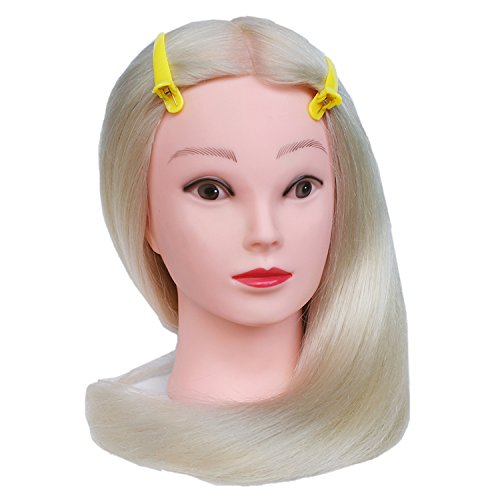 TOPBeauty Têtes d'exercice Hairdressing Head Cosmetology Mannequin Head With Free Clamp Mixed Hair 54cm Blonde