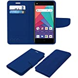 ACM Leather Flip Wallet Case for Micromax Bharat Go Mobile Cover Blue