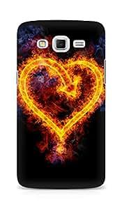 Amez designer printed 3d premium high quality back case cover for Samsung Galaxy Grand 3 (Heart fire flame shape arrow)