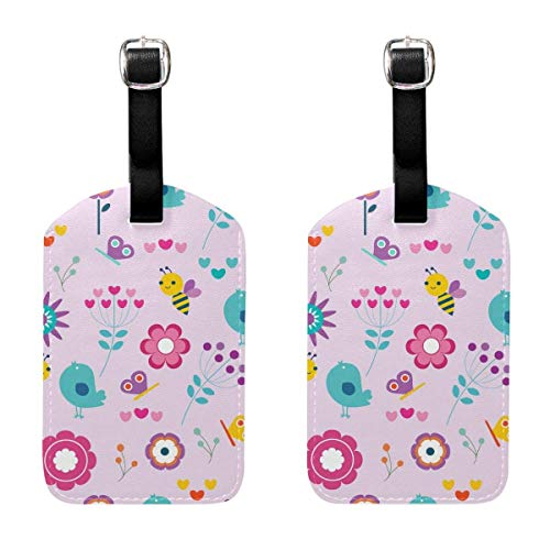 Kofferanhänger Bird Bee Cute Travel Bag ID Card Label Tag PU Leather for Baggage Suitcase(2Pack) 89tAGS1292 -