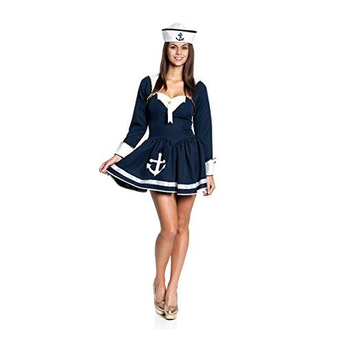 Marine Kostüm (Kostümplanet® Matrosen-Kostüm Deluxe für Damen dunkelblau sexy Kleid mit Bolero Jacket Matrosin-Kostüm Marine Größe)