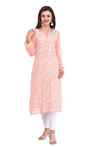 ADA Lucknowi Needlecraft Exclusive Women's Casual Chikan Georgette Kurti Dress A90328