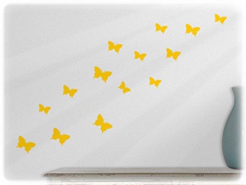 too - 15 schöne Schmetterlinge (S2XS) in gelb (Butterfly Tatoo)